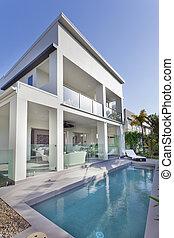 dom, nowoczesny, kałuża, pływacki