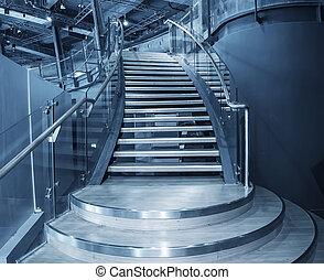 dom, nowoczesny, schody, prospekt