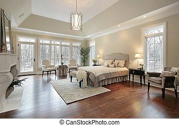 dom, nowy, zbudowanie, pan, sypialnia