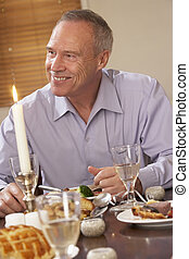 dom, obiad, jedzenie, człowiek