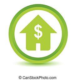 dom, objętościowy, dolar, ikona