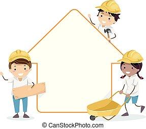 dom, ochotnik, zbudowanie, stickman, dzieciaki