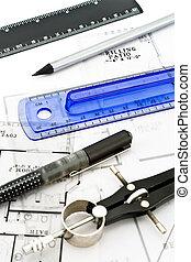 dom, odbitki światłodrukowy, narzędzia, plan, rysunek