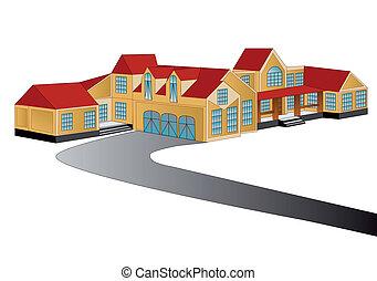 dom, odizolowany, na białym, tło