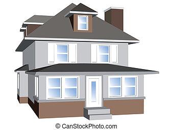 dom, odizolowany, na białym