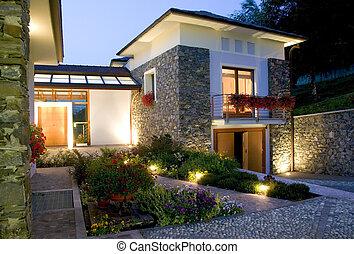 dom, ogromny, zachód słońca, luksus, nowy