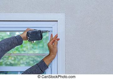dom, okno, budowlaniec, instalowanie
