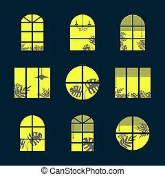 dom, otwór, sylwetka, isolated., miasto, wektor, sylwetka, okna, izba, kloce, curtains., okna, lekki, różny, zbiór, projekty, ilustracja, rośliny, tropikalny, night.
