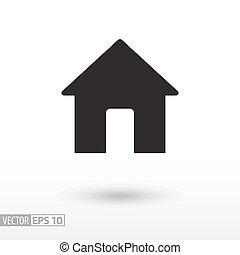 dom, płaski, icon., znak, house., wektor, logo, dla, zamiar sieći, ruchomy, i, infographics