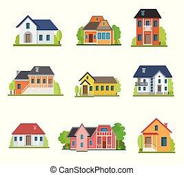 dom, płaski, komplet, ikony