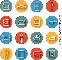 dom, płaski, komplet, przyrząd, ikony
