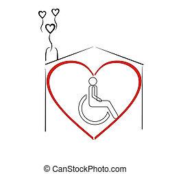 dom, pacjenci, kochający, skok, nasz