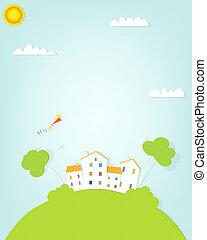 dom, pagórek, krajobraz