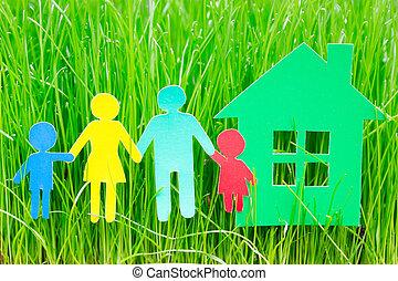 dom, papier, trawa rodzina
