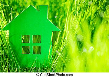 dom, papier, zielony