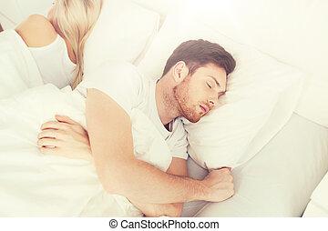 dom, para, łóżko, spanie