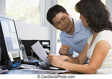 dom, para, komputer, paperwork, biuro