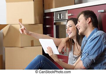 dom, para, planowanie, ruchomy, reform