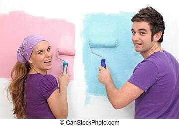 dom, para, szczęśliwy, malarstwo, pierwszy