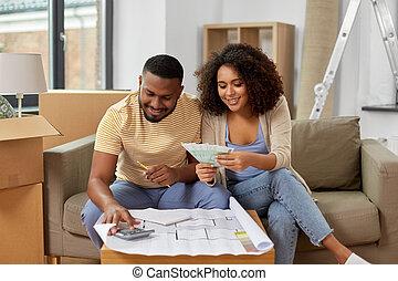 dom, pieniądze, plan, odliczający, para