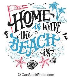 dom, plaża, gdzie, typografia, ilustracja