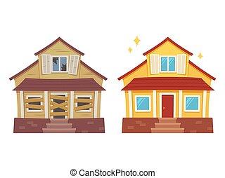 dom, po, renowacja, przed