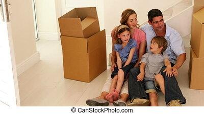 dom, podłoga, nowy, ich, posiedzenie, rodzina, szczęśliwy