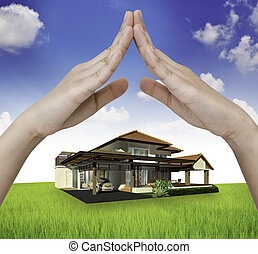 dom, pod, ręka