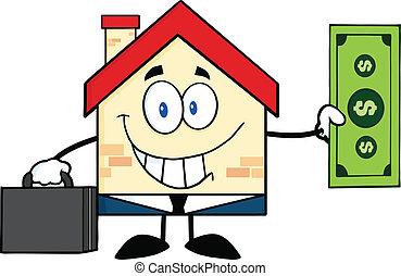 dom, pokaz, halabarda, dolar, uśmiechanie się