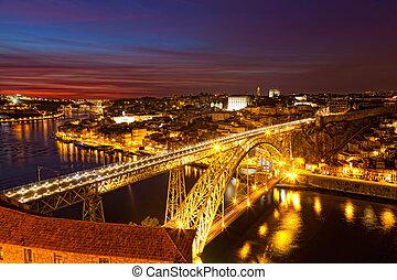 dom, porto, ponte, portugal, éclairé, vieux, au-dessus, luis, duoro rivière, panorama, célèbre, nuit, pont, ville
