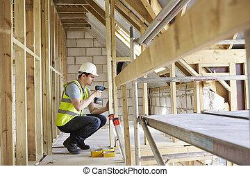 dom, pracownik, zbudowanie, budować, dryl, używając