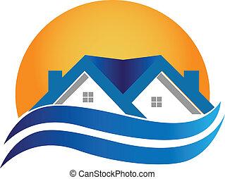 dom, prawdziwy, -, logo, wektor, stan