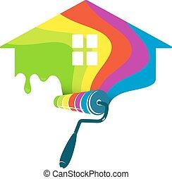 dom, projektować, malarstwo, handlowy
