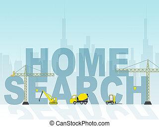 dom przetrząśnięcie, widać, badawczy, dla, dom, 3d, ilustracja
