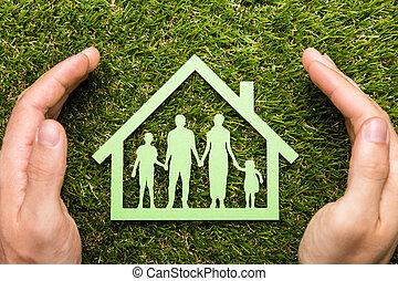 dom, ręka, broniąc, rodzina, osoba