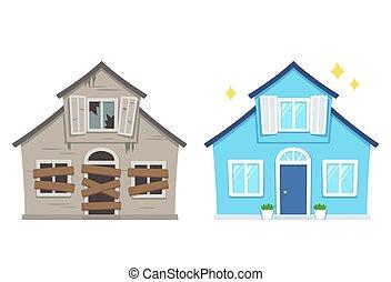 dom, renowacja, po, przed