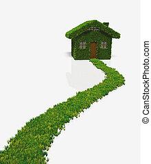 dom, robiony, trawa, ścieżka