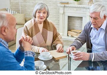 dom, senior, grupa, pielęgnacja, ludzie