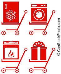 dom, shoping, przyrząd, wóz