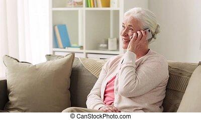 dom, smartphone, kobieta, senior, powołanie