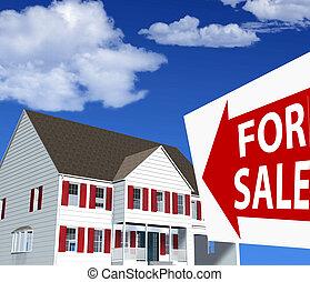 dom, sprzedaż, ilustracja, znak