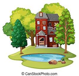 dom, stary, pole