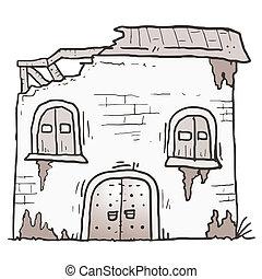 dom, stary, rysunek