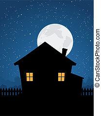 dom, sylwetka, w, gwiaździsty, noc