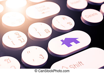 dom, symbol, na, klawiatura
