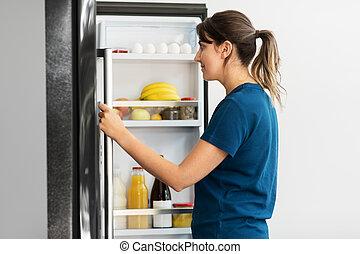 dom, szczęśliwy, kuchnia, lodówka, otwarty, kobieta