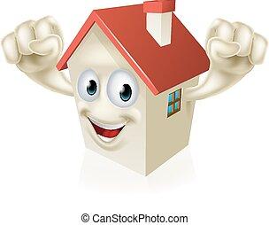 dom, szczęśliwy, rysunek, maskotka