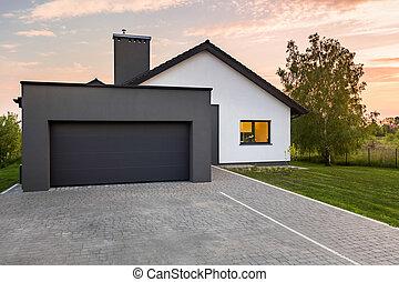 dom, szykowny, garaż