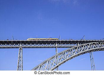 dom, train, pont, luis, porto, rivière, sur, promenades, douro, portugal.