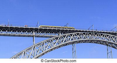 dom, train, pont, métro, luis, porto, rivière, sur, douro, portugal.
